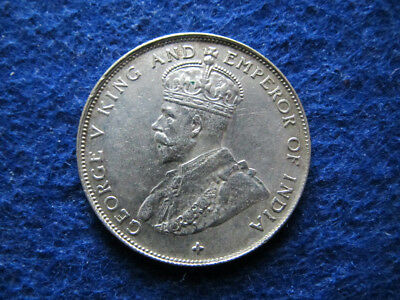1921 Straits Settlements Silver 50 Cents - Lustrous XF/AU - Free U S Shipping