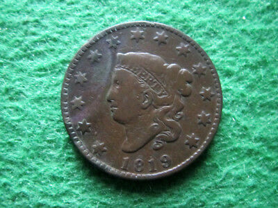 1819 Coronet Head Large Cent - Small Date - Free U S Shipping