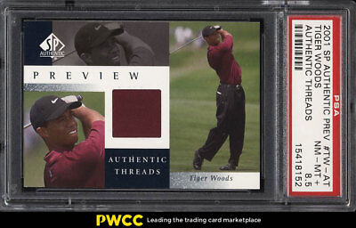 2001 SP Authentic Preview Authentic Threads Tiger Woods RC AUTO PSA 8.5 (PWCC)
