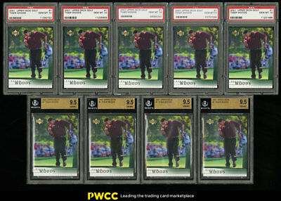 Lot(16) 2001 Upper Deck Golf Tiger Woods ROOKIE #1, ALL BGS PSA 8.5 to 10 (PWCC)