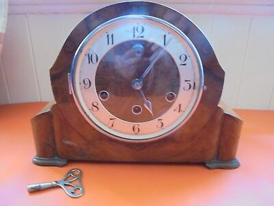 Vintage Westminster Chiming Mantle Clock Haller Movement Working With Key