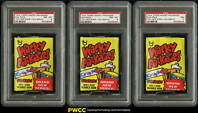 Lot(5) 1974 Topps Wacky Packages Wax Pack 15th Series Sticker PSA 7 & 8 (PWCC)