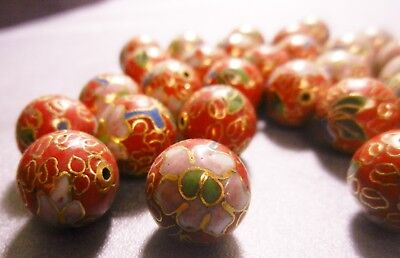 14mm red Cloisonné round beads w/ flower design, 30 beads, new old stock, V688