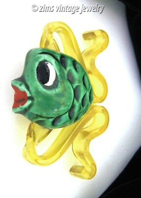 Vintage 1940s ELZAC Green ceramic Tropical FISH yellow Lucite figural PIN brooch