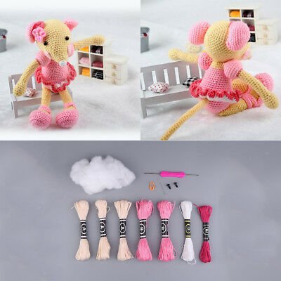 Pink Mouse Doll Crochet Kit DIY Knitting Material Package for Beginners