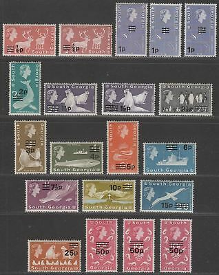 South Georgia 1971-76 QEII Decimal Surcharge Set Mint
