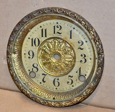 Antique 8 Day Time Strike  Seth Thomas Clock Dial & Bezel w/ Flat Beveled Glass