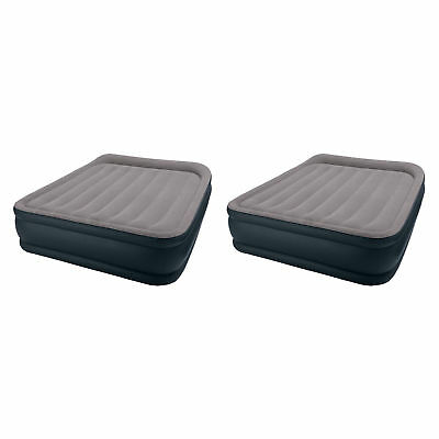 Intex Deluxe Raised Pillow Rest Air Mattress with Built-In Pump, Queen (2 Pack)