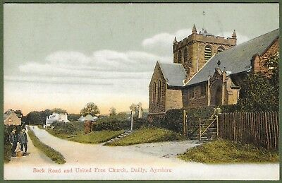 Back Road and United Free Church Dailly, Ayrshire. Posted From Dailly 1907.