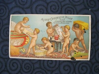 Victorian Trade Card Ayers Pill Naked Children Cherub Thomas Combs Trenton NJ 83