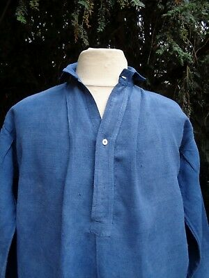 ANTIQUE FRENCH LINEN SHIRT TUNIC HAND DYED INDIGO BLUE WORK SMOCK 19th