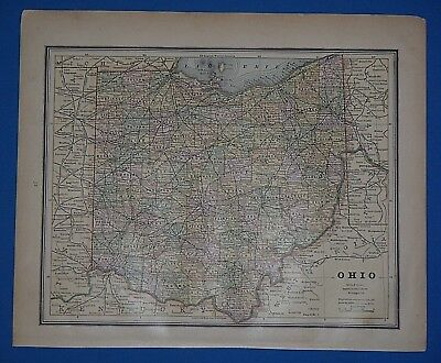 Vintage 1888 OHIO Map ~ Old Antique Original Atlas Map 011119