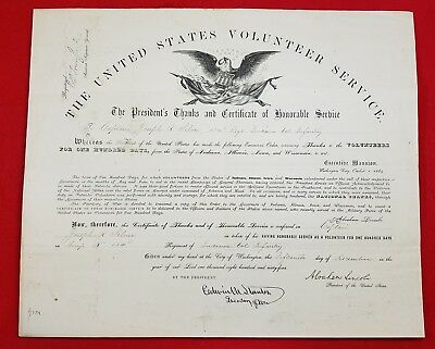 Capt. Joseph A. Silver 134th Indiana Vols Infantry Honorable Discharge