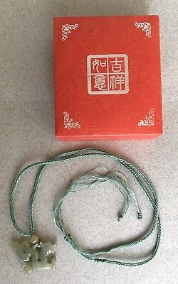 VINTAGE CHINESE CARVED CELADON DRAGON PENDANT in box boxed hardstone