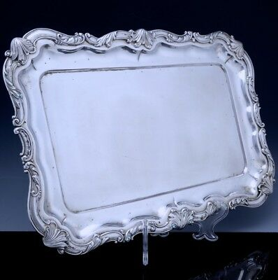 VERY FINEc1870 AUSTRO HUNGARIAN SOLID SILVER ROCOCO SERVING PLATTER DRESSER TRAY