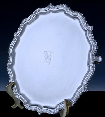 """SUPERB QUALITY c1920 GEORGIAN CHIPENDALE STERLING SILVER FOOTED 10"""" SALVER TRAY"""