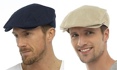 Tom Franks Mens Linen Blend Traditional Flat Cap