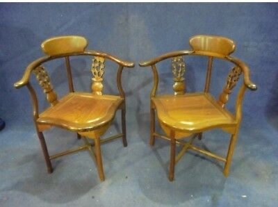 Pair of Solid Mahogany Corner Chairs Antique Reproduction