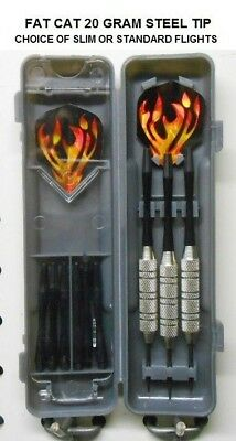 Evil Flights-9 Shafts-Bonus Fat Cat Darts 20 gm Steel Tip Dart Set-Good vs Darts Darts-Steel Tips