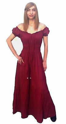 RENAISSANCE VICTORIAN COSTUME MEDIEVAL PIRATE GYPSY WENCH CHEMISE DRESS Cd15PLUS