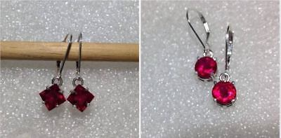 Sterling Silver Created Ruby Dangle Earrings 2.20TCW~  *Various Shapes & Styles