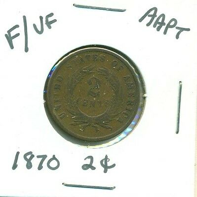 1870 Two Cent Piece Key Coin 2 Cents Some Of Motto Visible