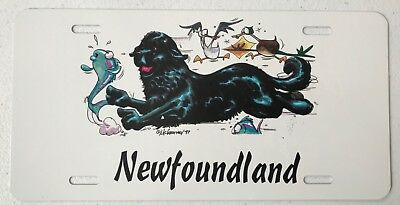 Comical Newfoundland Dog license plate 1997 McCartney art Dawg Plates