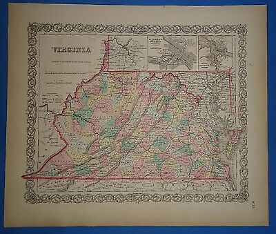 Vintage 1857 VIRGINIA STATE Map - Old Original Hand Colored Colton's Atlas