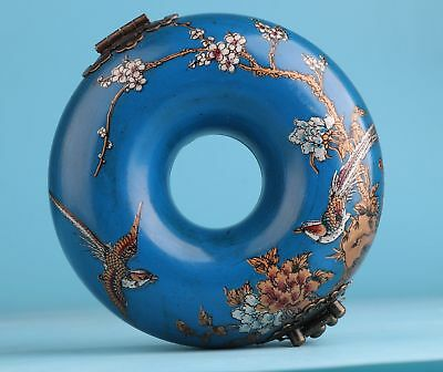 Vintage China Leather Jewelry Box Decorate Blue Round Flowers Birds Gift