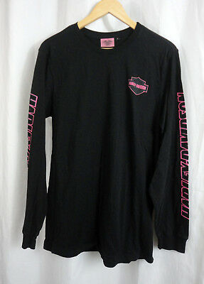 Harley Davidson Mens Pink Logo Long Sleeve Shirt Sz L large