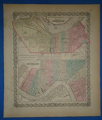 Vintage 1857 NEW ORLEANS LOUISVILLE Map Old Original Hand Colored Colton's Atlas