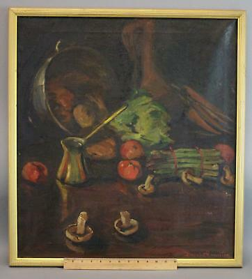 Antique BLANCHE HAMILTON Stillife Oil Painting Vegetables Asparagus Mushrooms +