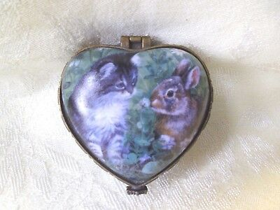 PERSIS CLAYTON WEIRS Wild Wings KITTEN & BUNNY Heart Shaped TRINKET BOX