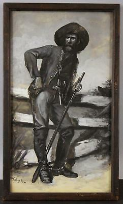 Antique A. BUHLER American Western Cowboy Mountain Man Illustration Oil Painting