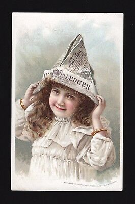 Original 1880s Hire's Root Beer Trade Card - Girl Newspaper Hat - Canajoharie NY