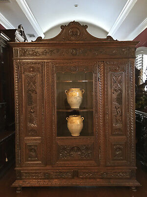 Antique French Country Carved Dark Oak Breton Brittany Bookcase Cabinet Wardrobe