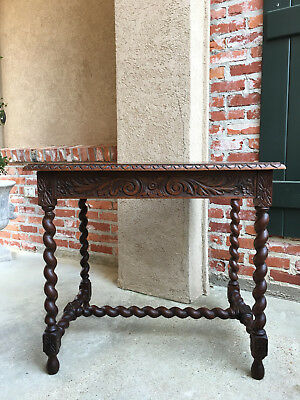 Antique English Carved Oak Barley Twist Side Table End Table Nightstand