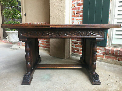 Antique French Carved Dark Tiger Oak Draw Leaf DINING TABLE 8 ft. Renaissance