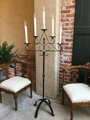 Antique French Black Wrought Iron Floor Lamp 5 Arm Candelabra Castle Lighting