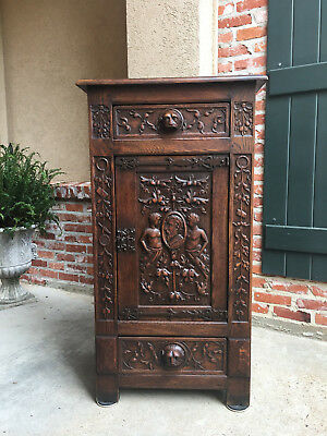 Tall Antique Spanish Carved Oak Renaissance Gothic Cabinet Lion Soldier  .a