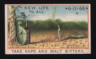 Original 1880s Before & After Trade Card - Hops & Malt Bitters