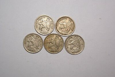 5 OLDER 20 CENTAVO COINS from CHILE (1921, 1924, 1932, 1938 & 1940)