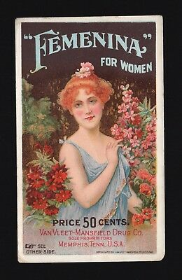 "Original 1880s Trade Card - ""Femenina"" For Women - Memphis TN"