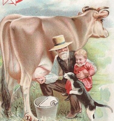 Original 1880s Trade Card - Kumysgen Food for Invalids - Farmer Squirts Milk