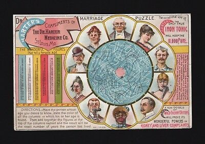 Original 1880s Trade Card - Dr Harter's Medicine Co - Marriage Puzzle