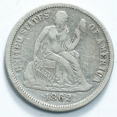 1862 Seated Liberty Dime - VF/XF Detail - 10c Silver