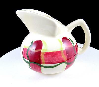 """Purinton Pottery Normandy Plaid Red Green And Yellow 4 3/8"""" Kent Jug 1955"""