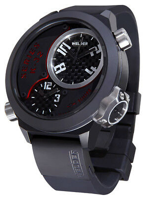 Welder by U-Boat K32 Triple Time Zone Black Ion-Plated Steel Mens Watch K32-9201
