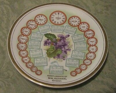 Unusual 1911 Antique Grocer Advertising Calendar Plate W/ World Time Clocks