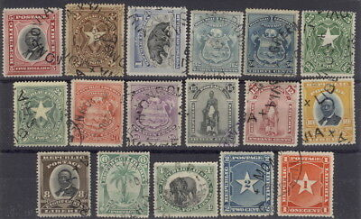 Liberia 1892-6, complete set of 17, used $$ #33-49, hippo, elephant, Waterlow